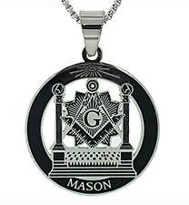 Masonic Pillars Pendant - Steel Freemason Necklace Altar, Square & Compass