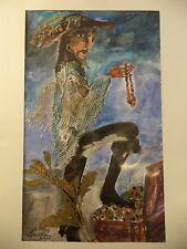 Cuban Artist Charo SIGNED ORIGINAL PIRATE FOOT ON TREASURE CHEST OLDING BOUTY C8