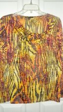 CHAUS Sz M Multi Colored Print  Long Sleeves Draped Neckline Pull Over Top