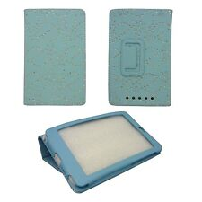 CASE FOR GOOGLE NEXUS 7 TURQUOISE DIAMOND BLING GLITTER PRINT PU LEATHER COVER