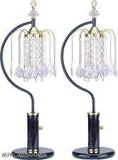 "27"" BLACK +BRASS RAIN DROP CHANDELIER TABLE LAMPS  **SHIPS FREE** TWO LAMPS"