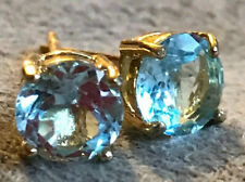 Topaz Earings:  6mm Natural, Untreated, Excellent Brightness 18k Gold Plated