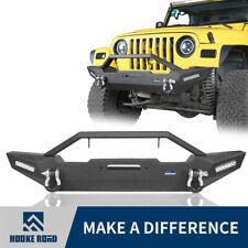 Black Front Bumper Built-In LED Light w/ D-Ring Fit 87-2006 Jeep TJ YJ Wrangler