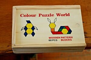 Toys of Wood Oxford Wooden Pattern Blocks and Puzzle 60 Pieces Geometric Shapes