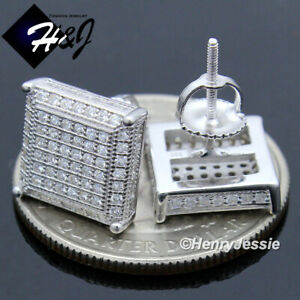 MEN 925 STERLING SILVER ICY DIAMOND 10MM SQUARE SCREW BACK STUD EARRING*E196