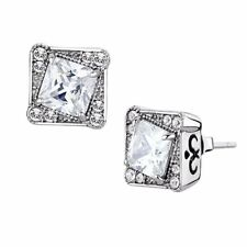 6x6mm Princess Cut CZ center surrounded by Top Crystal Stainless Steel Earrings