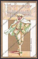 BERGAMO CITTÀ 176 BRIGHELLA MASCHERA CARNEVALE Cartolina primi '900 FONDO ORO