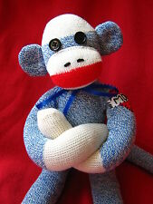 """💖 Blue Sock Monkey Mom Tattoo - Can be Personalized 18"""""""