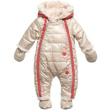 NWT BABY CATIMINI SPIRIT PUFFER SNOW SUIT 9 MONTHS METALLIC SHINY BEIGE PINK