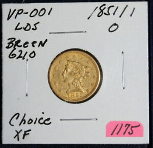 1851/1851 O Repunched Date Choice Extra Fine Breen 6210 VP-001 LDS Quarter Eagle