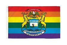 State of Michigan Rainbow Flag 3x5 ft w/ Gay Lesbian LGBTQ Pride
