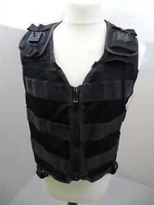 Protec Black Tactical Molle Vest Airsoft Combat Security 3s Grade B