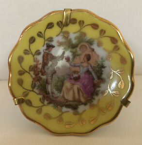"""Miniature Limoges Porcelain Plate Yellow, White & Gold Courting Couple 2 1/8 """""""