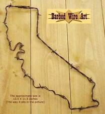 California - handmade metal decor barbed wire art state western sculpture