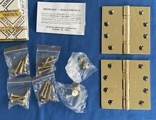 "NEW Pair Of 4"" x 4"" Polished Brass Hinges Baldwin Hardware 1041-003 NIB Box"