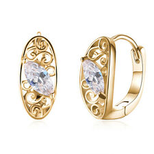 Women 18K Gold Plated Oval Zircon Buckle Hoop Huggie Earrings Fashion Jewelry