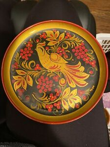 Gorgeous Red Wood Vintage Russian Khokhloma Hand Painted Plate