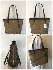 New COACH F58282 Signature Jacquard Zip Top Tote Handbag