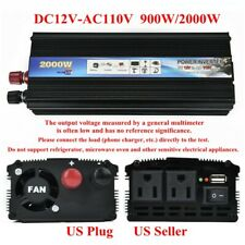 US 2000W/900W Car Power Inverter Converter DC 12V To AC 110V USB Charger