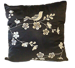 ONE BLACK IVORY CUSHION COVER CONTRASTING EMBROIDERED BIRD DESIGN PIPED EDGING