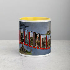 Greetings from Illinois Coffee Mug with Color Inside