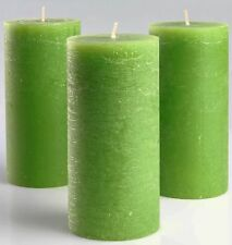 """Set of 3 Green Pillar Candles 3""""x6"""" - Unscented Fragrance-Free Candles for Decor"""