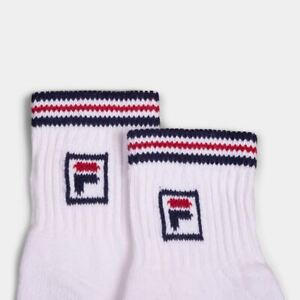 Pack of 3 x Fila Vintage Pairs of Borg Heritage Half Length Socks in White