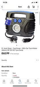 P.I. Auto Store - Tyre Pump - 240v Car Tyre Inflator Mains OR 12V DC Tyre Dual -