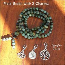 Tree of Life Lotus Flower Mala Beads ♡ Meditation Bracelet Necklace 3 Charms