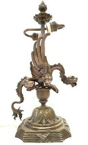 ANTIQUE & EXCEPTIONAL GARGOYLE DRAGON FRENCH FIGURAL SILVER PLATED BRONZE LAMP