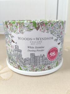 WOODS OF WINDSOR ENGLAND Dusting Powder WHITE JASMINE 3.5 oz/100g Scented w Puff