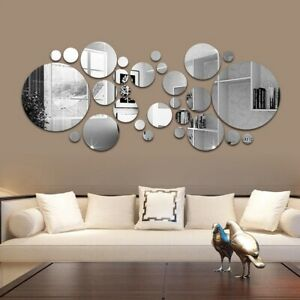 Mirror Round Home Mural Décor Living Room  Art DIY Removable 3D Wall Sticker