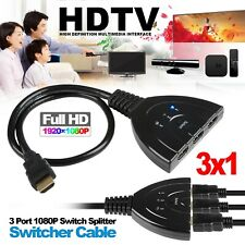3Port 1080P HDMI Switch Splitter Switcher HUB Box Cable for PS3 DVD HDTV US