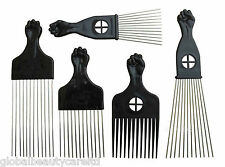 AFRO Comb with Black Fist Metal African Hair Pik