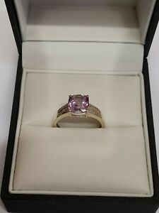9ct White Gold Amethyst And Diamonds Ring