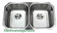 "32-1/4"" 18 Gauge Undermount Double Bowl 50/50 Stainless Steel Kitchen Sink"