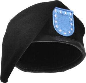 Black Military Inspection Ready Wool Uniform Beret with US Army Type Blue Flash