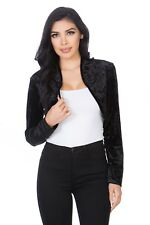 Fashion Secrets Womens Collarless Open Front Velvet Bolero Shrug Cardigan Jacket