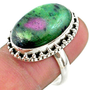 September Sale 16.92cts Solitaire Natural Green Ruby Zoisite Ring Size 8 T44753