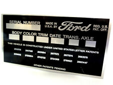 Ford Body Model Trim Serial Number VIN Plate Tag part FoMoCo Motor Company Truck