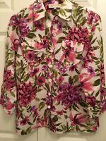 Jones New York 100% Linen Button Front Shirt Women's Size S Pink Floral EUC!