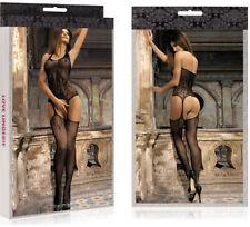eleganter Frauen Bodystocking Netzbody Dessous Reizwäsche Einheitsgröße