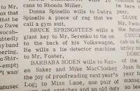 Bruce Springsteen Senior High School Newspaper 1967 Class Last Will RARE