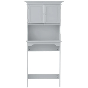 Over-The-Toilet-Storage 30 in. x 66.5 in. x 10.5 in. Adjustable Shelves Gray