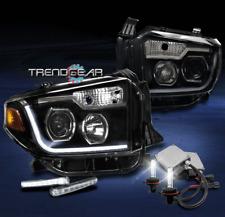 2014-2017 TOYOTA TUNDRA BLACK PROJECTOR LED BAR HEAD LIGHTS+SIGNAL DRL+6000K HID