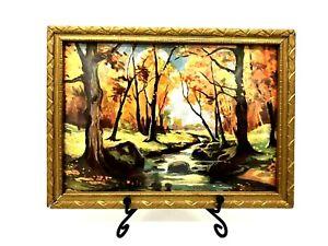 Vtg Retro Autumn Woods & Stream Landscape Framed print 5.5x7.5