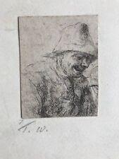 Old Master DUTCH SCHOOL - engraving - peasant - 17th C - VAN OSTADE, BROUWER