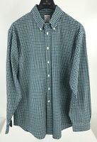 Brooks Brothers Mens Large Navy/Green/White Plaid Long Sleeve Button Front A-24