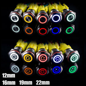 Push Button Switch Illuminated 12mm 16mm Momentary Latching Waterproof Led 12V