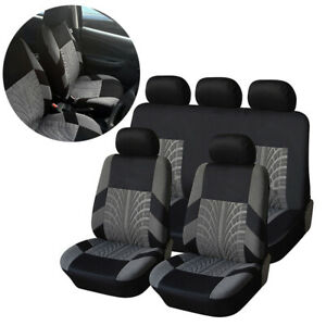 9PCS Car Full Seat Cover Car Accessories interior Black Grey Seat Protection